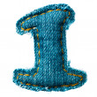 Handmade digit of jeans alphabet - Stock Photo