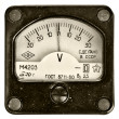 Vintage ancient voltmeter - Stock Photo