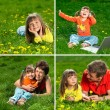 Family enjoy outdoors — Stockfoto