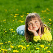 Portrait of a happy little girl in the park — Stok fotoğraf