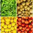 Collection of fruit and vegetable backgrounds — Stock Photo
