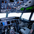 Boeing interior, cockpit view inside the airliner, isolated wind - Stock Photo