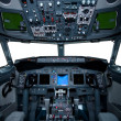 Boeing interior, cockpit view inside the airliner, isolated wind — Stock Photo #7677148