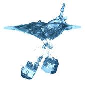 Ice cube dropped, isolated on white — Stock Photo