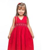 Portrait of a emotional beautiful little girl on white backgroun — Stock Photo