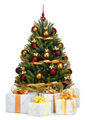 Decorated Christmas tree on white background — Stockfoto