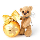 Teddy bear in classic vintage style with christmas toy — Stock Photo