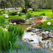 Jardim com lago em estilo asiático — Foto Stock