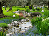 Garden with pond in asian style — Foto Stock