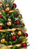 árbol de navidad sobre fondo blanco decorado — Foto de Stock