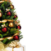 Decorated Christmas tree on white background — ストック写真