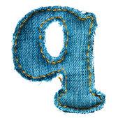 Handmade lowercase letter of jeans alphabet — Stock Photo