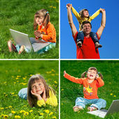 Family enjoy outdoors — Stock Photo