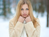 Winter portrait of beautiful smiling woman — Stock Photo