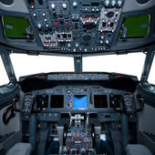 Boeing interior, cockpit view inside the airliner, isolated wind — Stock Photo