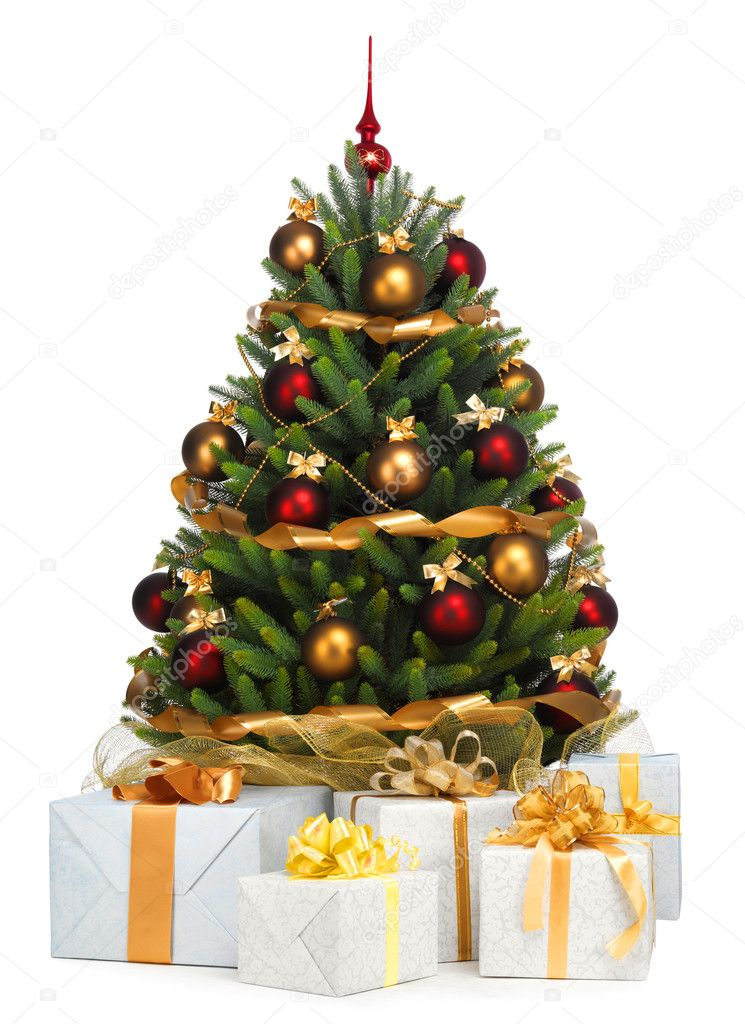 Decorated Christmas tree on white background — Stock Photo #7675818