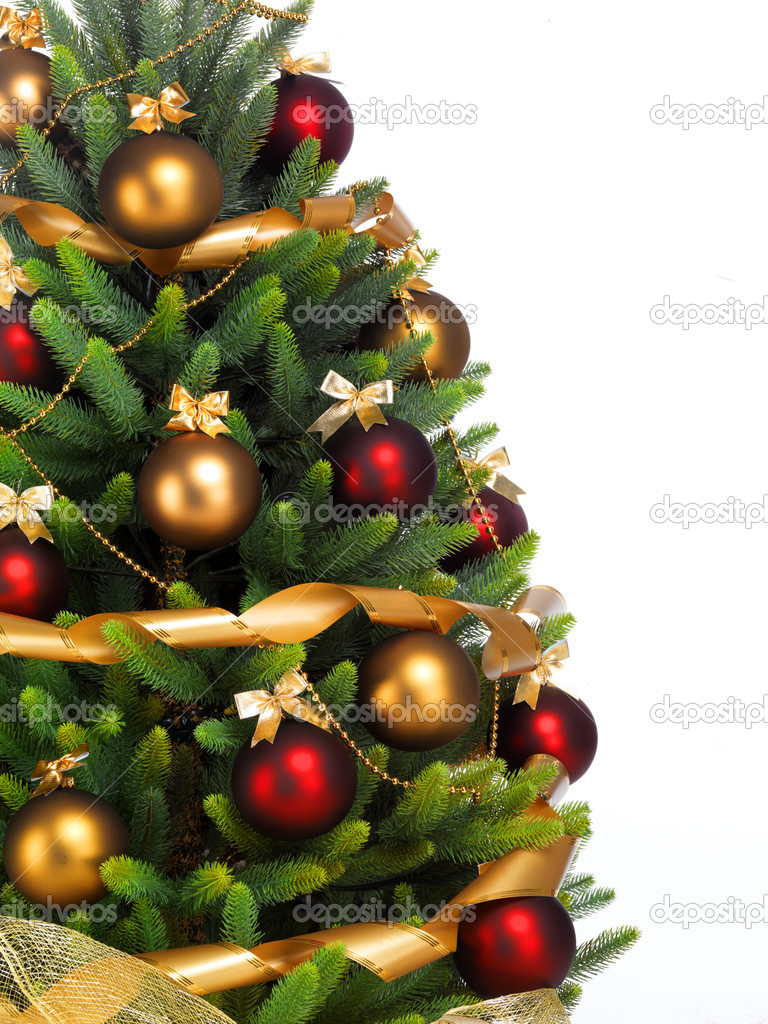Decorated Christmas tree on white background — Stock Photo #7676405