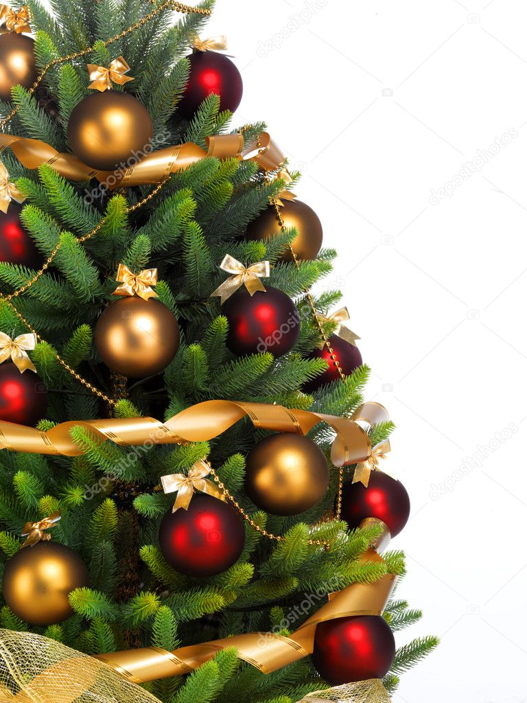 Decorated Christmas tree on white background — Stok fotoğraf #7676405