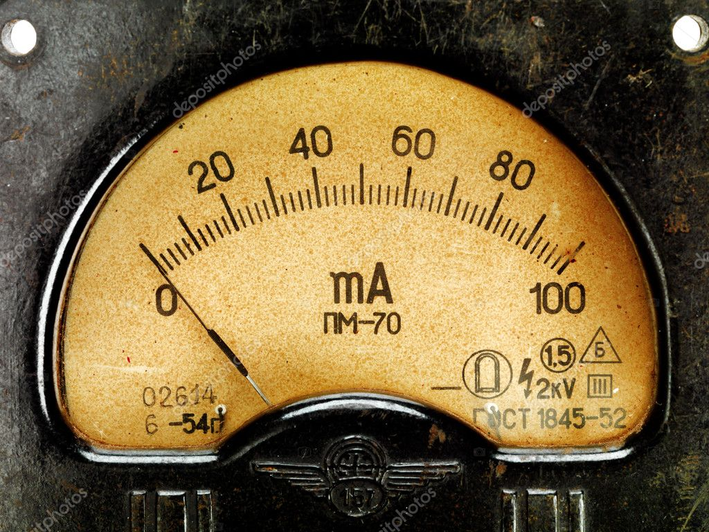 Close-up of an vintage ancient voltmeter, close-up view — Stock Photo #7676665
