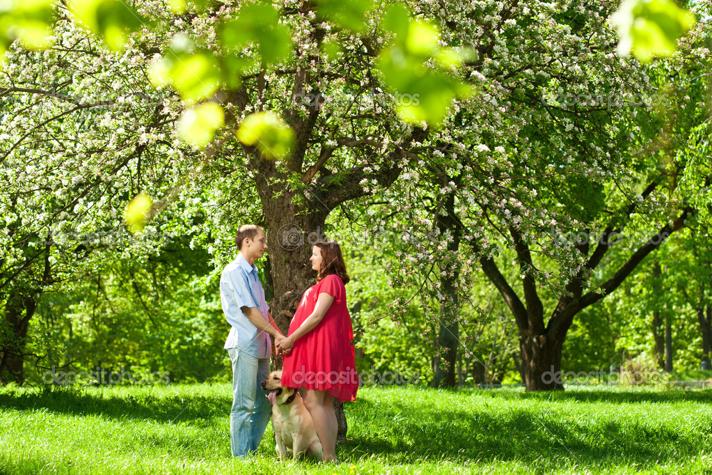 Beautiful pregnant woman in sunny park with her husband — Stock Photo #7677082