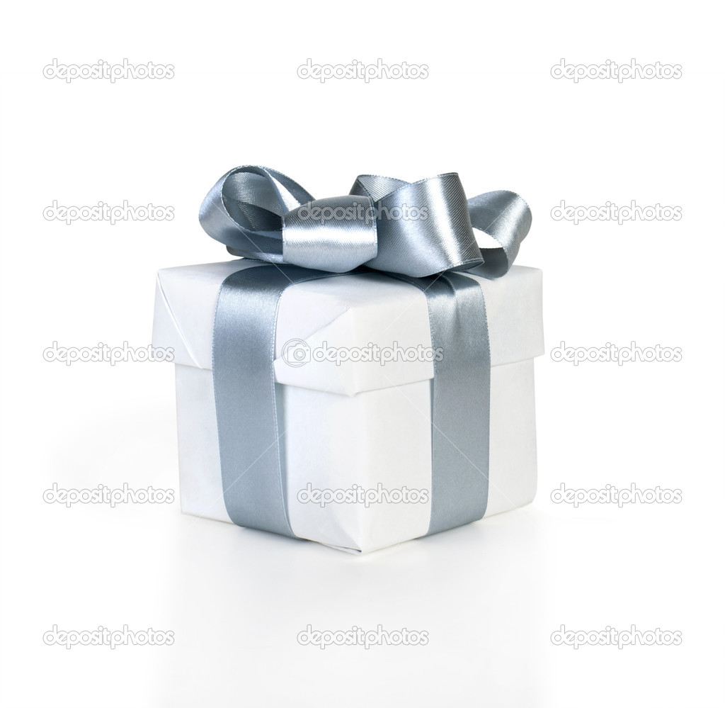 Gift box with ribbon isolated on white  — Stock Photo #7461351