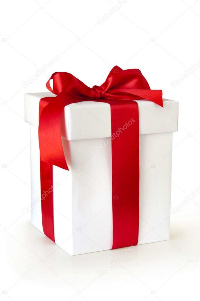 White gift box with red ribbon isolated on white  — Stock Photo #7461380