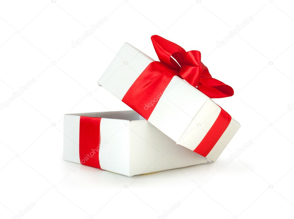 White gift box with red ribbon isolated on white  — Stock Photo #7461569