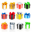 Color gift boxes collection with ribbons and bow — Stock Photo