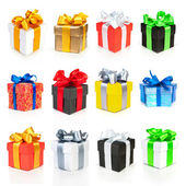 Color gift boxes collection with ribbons and bow — Foto Stock