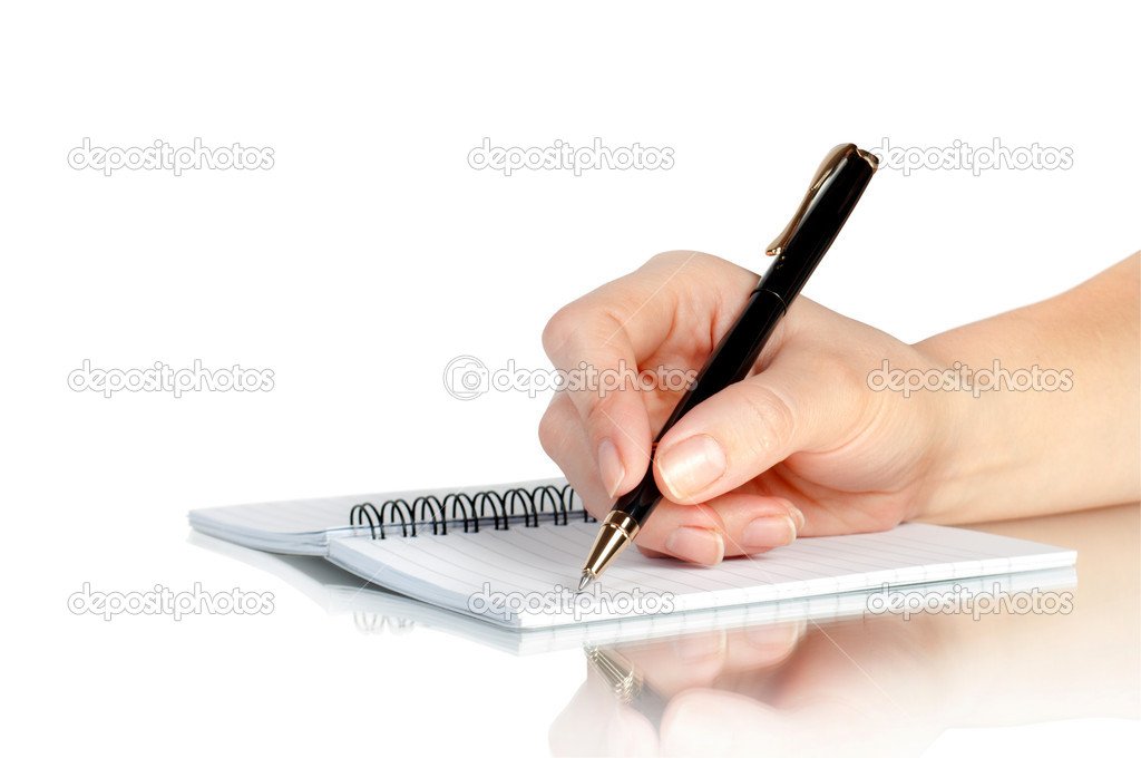 Hand with pen writing on notebook and reflection   Stock Photo #7841345