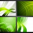 Stock Vector: Set of green backdrops