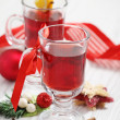 Cranberry punch with Christmas decoration — Stock Photo