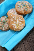 Cookies decorated with snowflakes — Stock Photo
