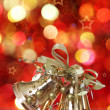 Golden Christmas bell tree decorations — Stock Photo