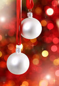 White Christmas tree decorations — Stockfoto