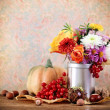 Stock Photo: Autumn still life with pumpkin