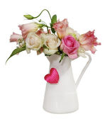 Bouquet of roses in the pot — Stock Photo