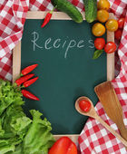 Vegetables still life with recipes blank — Stock Photo