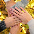 Hands of best friends together outdoor — Stock Photo