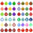 Big collection of different christmas balls — Stock Vector