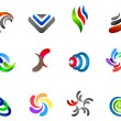 Vector de stock : 12 colorful vector symbols: (set 5)