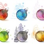 Different christmas glass balls — Stock Vector