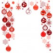 Blank Christmas frame with hanging balls — Image vectorielle