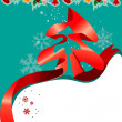 Christmas greeting card with red ribbon — Stock Vector