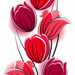 Seamless vertical border with red tulips — Stock Vector