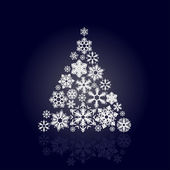 Christmas tree made of snowflakes — Stock Vector