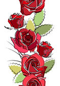Seamless vertical border with red roses — Stock Vector