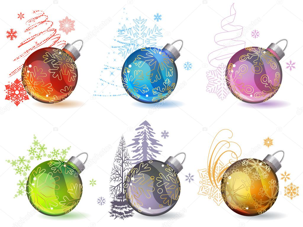 Different christmas glass balls with contour snowflakes  Stock Vector #6844932