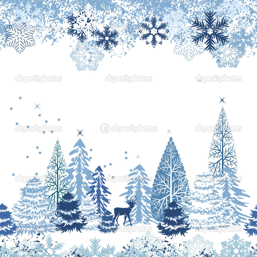 Beautiful seamless blue pattern with winter forest — Stock Vector #6845767