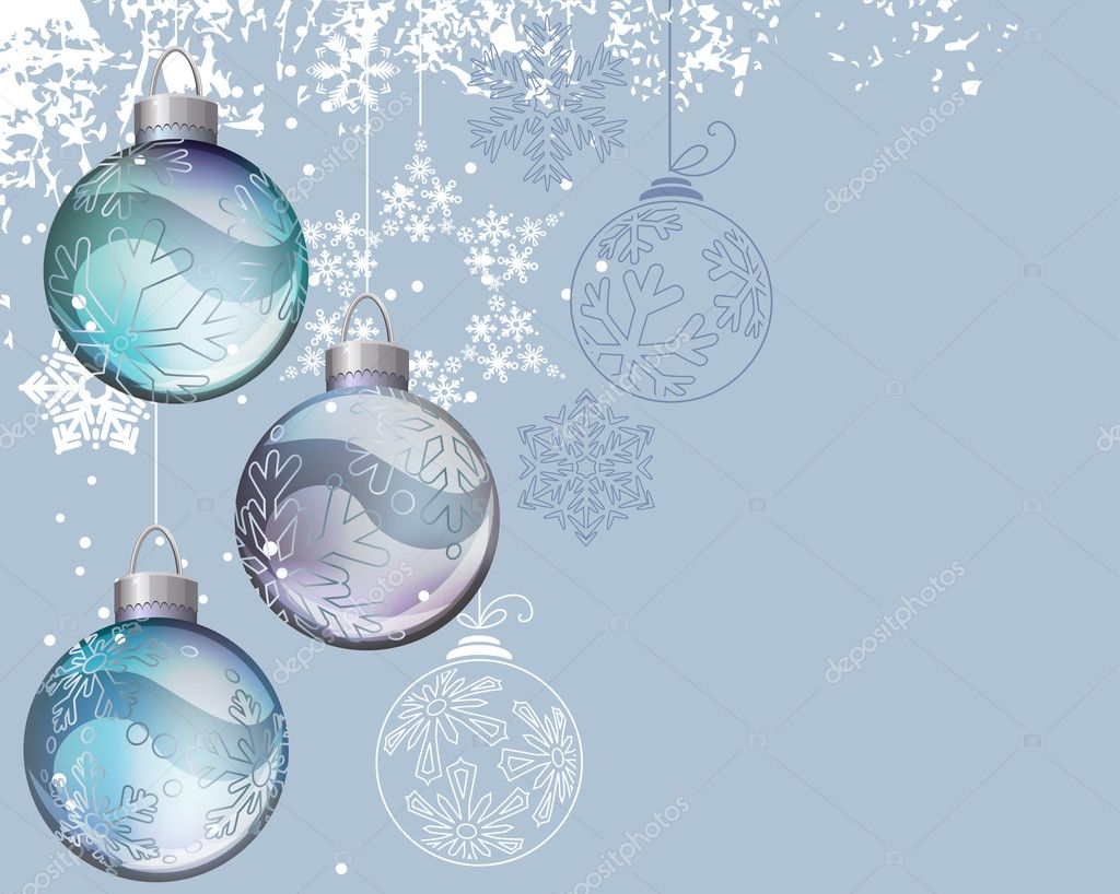 Christmas background with glass balls and contour snowflakes — Stock Vector #6848164
